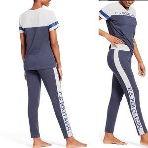 U.S. Polo Assn. Logo V Neck Pajama Set